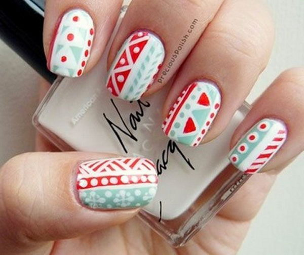 Red, Mint and White Tribal Nails.