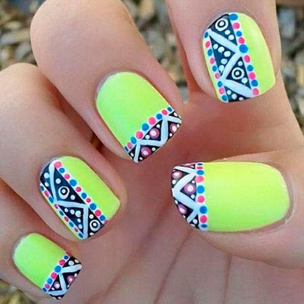Neon Tribal Nail Art Design.
