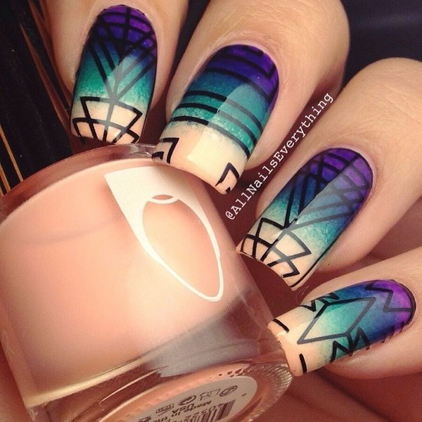 Ombre Tribal Nail Design.