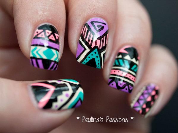 Green, Black and Purple Mixed Tribal Nail Designs.