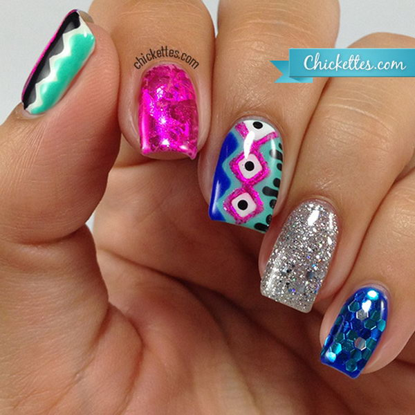 Pink and Mint Mix Tribal Nail Design. See more details