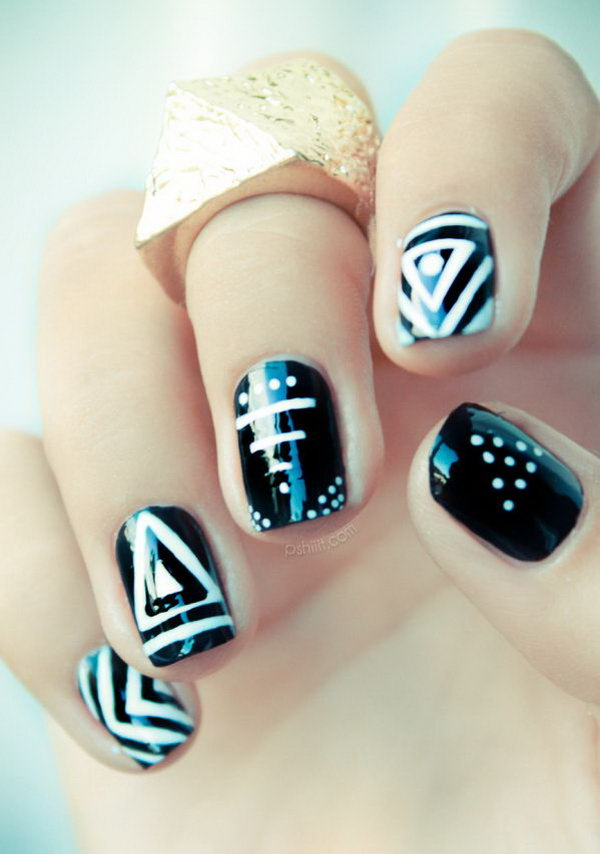 Black and White Tribal Nail. See more directions