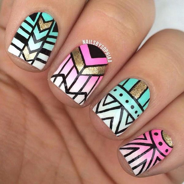Gradient Turquoise and Pink Tribal Nail Designs.