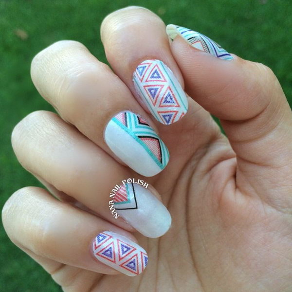 Pastel Tribal Nail Design.