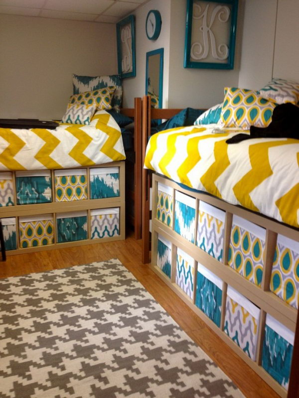 Custom made Boxes for Extrta Storage Under the bed. Stylish and custom made boxes fill up the unused space under these two dorm room beds.