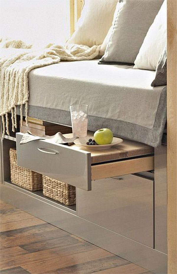 A Bed Incorporates Storage Units And Pull Out Shelf Table 22 Under Ideas