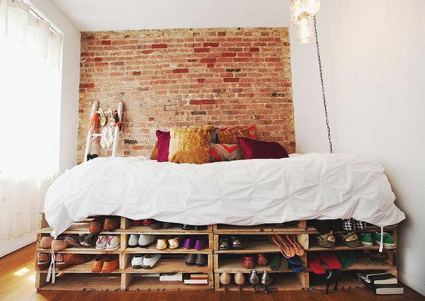 DIY Under Bed Shelves for Shoe Storage.