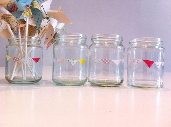 Mason Jar Crafts with Washi Tape.