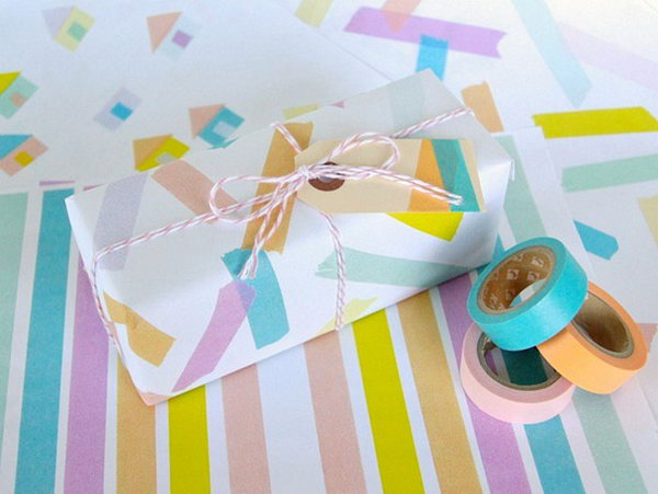 Decorate Gift Wrap with Washi Tape.