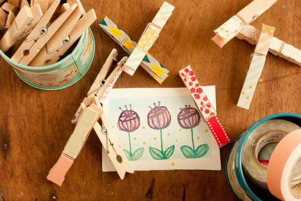 Cute Clothespins with Washi Tape.