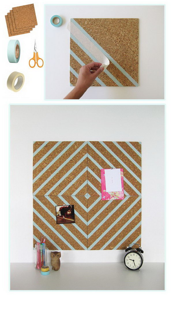 Corkboard and Washi Tape Used as the Wall Art.