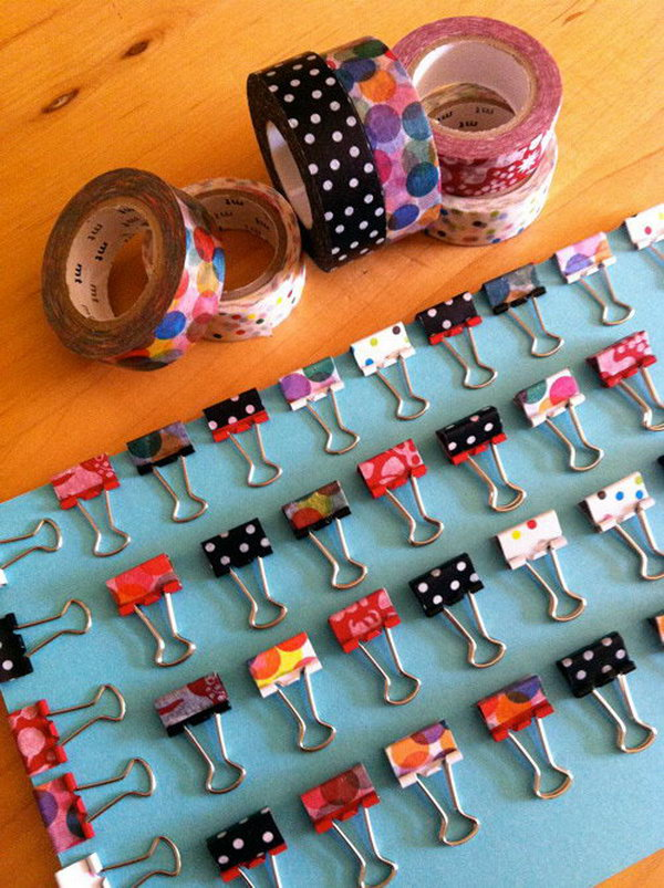 Decorate Binder Clips with Washi Tape.