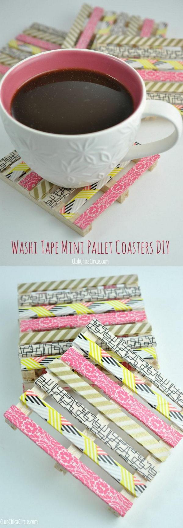 Washi Tape Mini Wood Pallet Coasters.