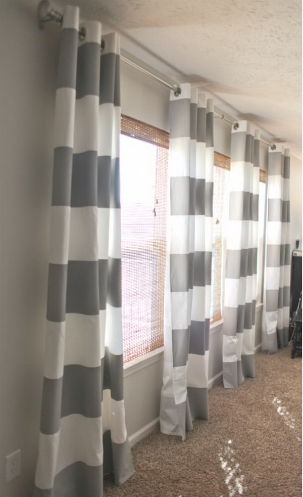 Paint Striped Gray Curtains. See the directions