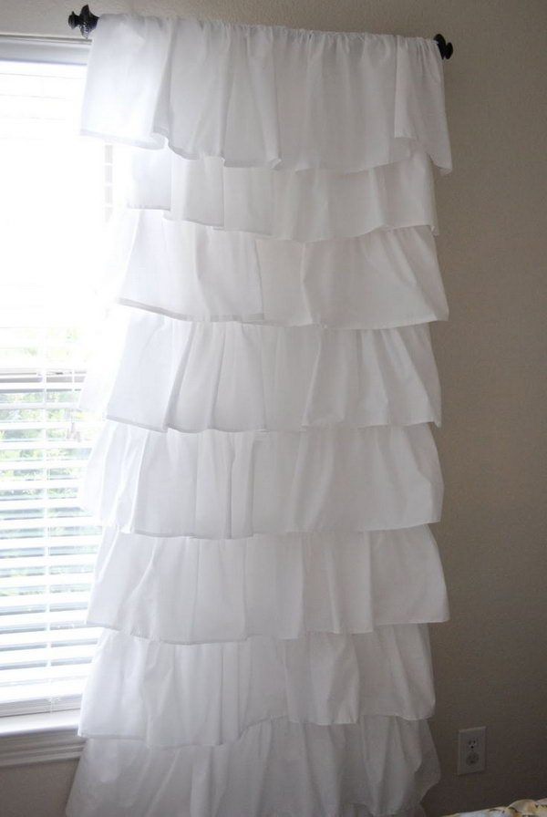 White Shabby Chic Ruffle Curtains. See more details