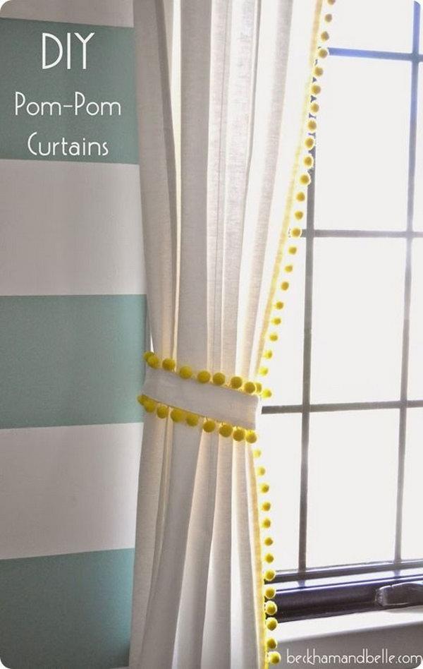 IKEA Hack Pom Pom Trim Curtains. See more details