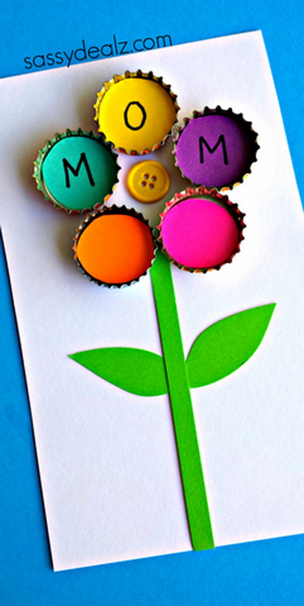Bottle Cap Flower Craft for Kids. This is a cute and great idea for a homemade Mother's Day gift. See how to make it