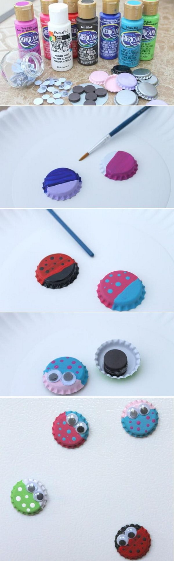 Bug Magnets from Bottle Caps. What an easy and fun craft idea for your kids. Grab a few bottle caps and some paint to get started with the tutorial