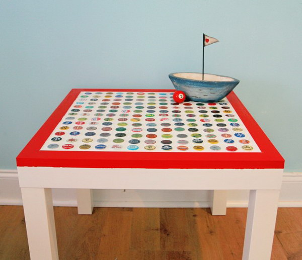 DIY Cheap and Chic Bottle Cap Table. A creative and genius idea to style your LACK table from IKEA using the bottlecaps in different patterns. This DIY is more labor intensive, but it is worth the time and is really a blast to make. Get the full tutorials