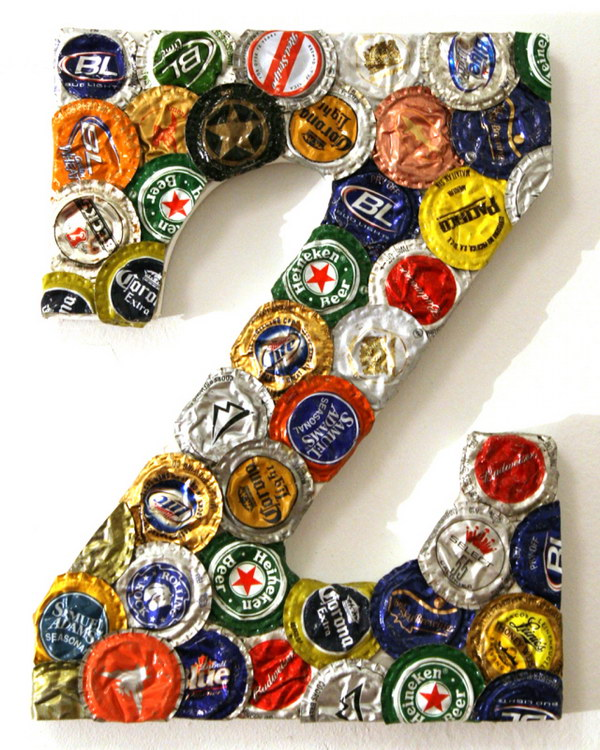 Jumbo Bottle Cap Letter. This letter craft looks pretty awesome for your home decorating. Check out how to make it