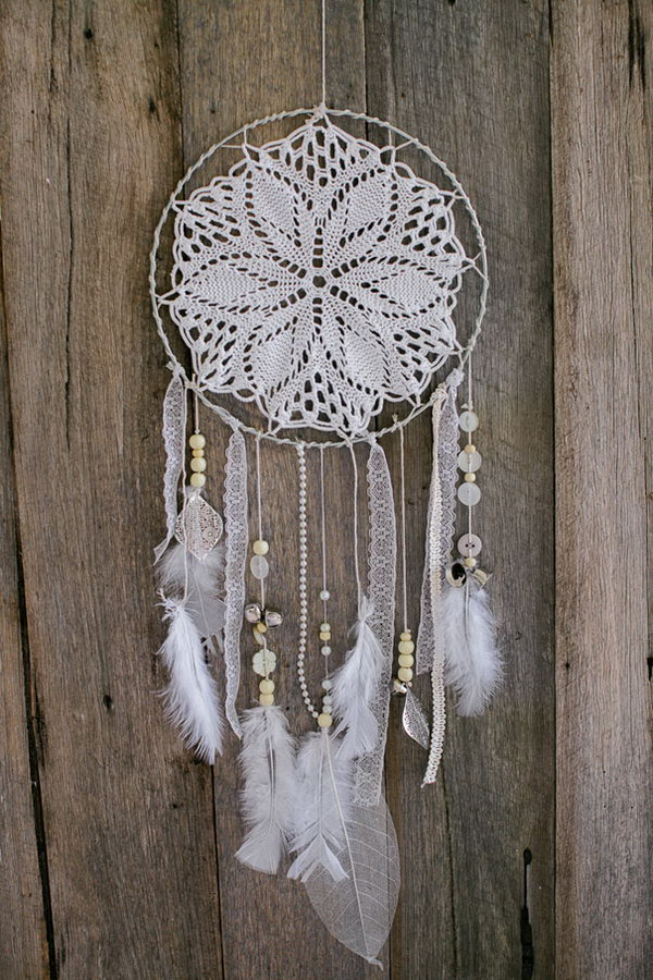 White Doily and Lace Dream catcher.