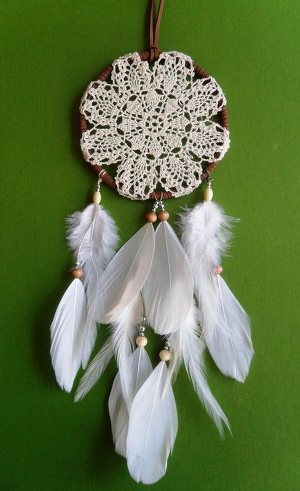 Doily and Feather Dream catcher.
