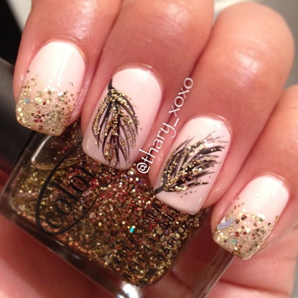 Black and Gold Glitter Feather Nails.