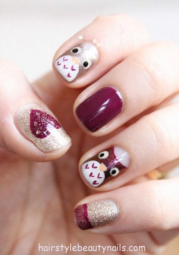 Glitter Owl Nails.
