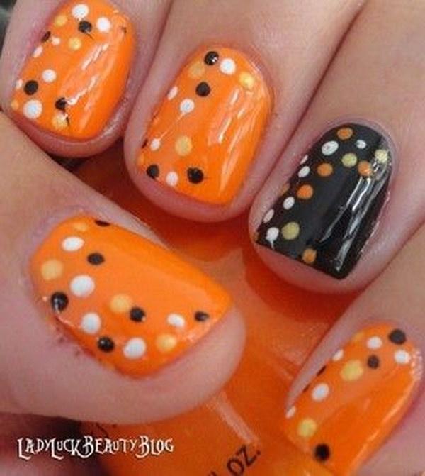 Polka Dot Fall Nails.