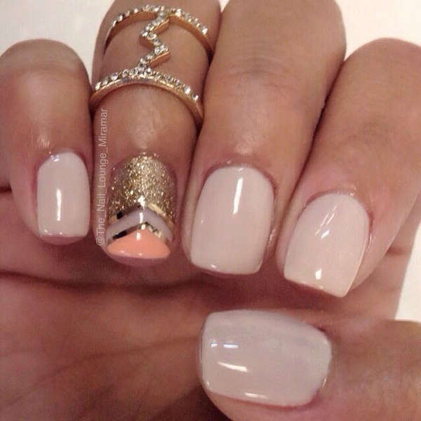 Simple Gold and Coral Nail Art Design.