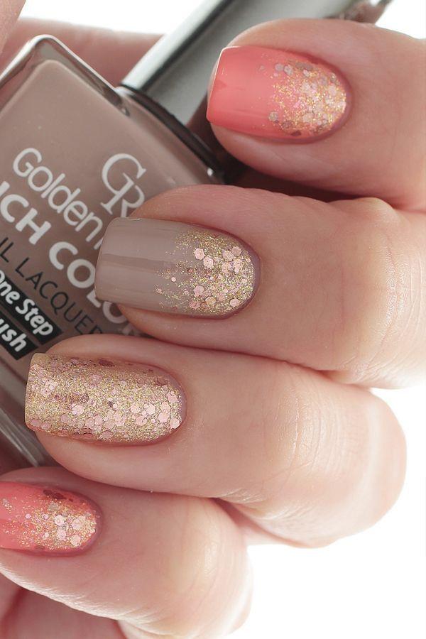 Gold Sparkles Fall Nail Art Design.