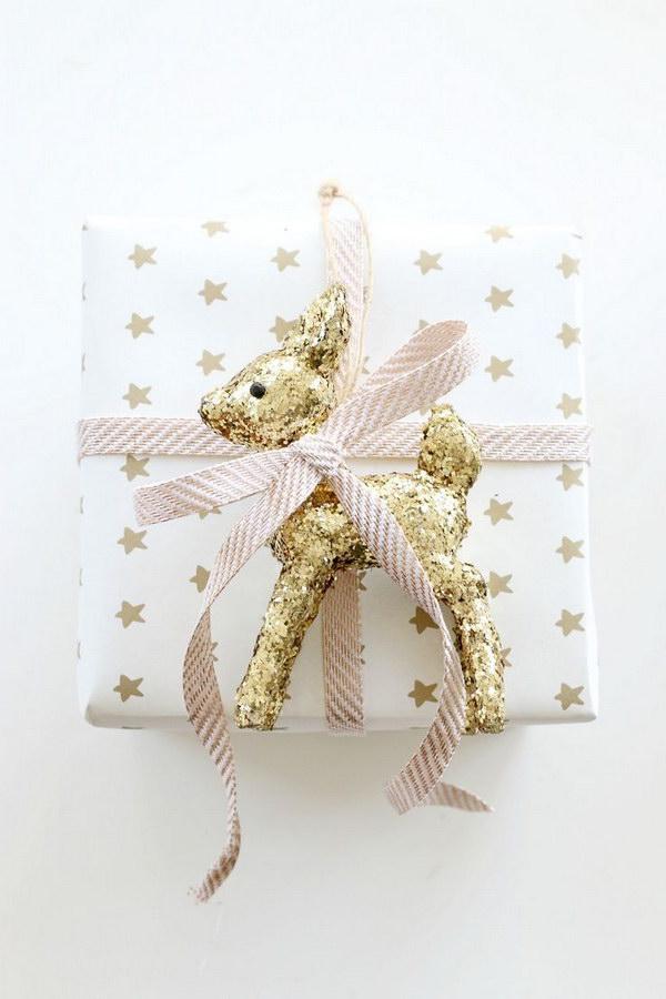 DIY Glitter Reindeer Gift Wrap.