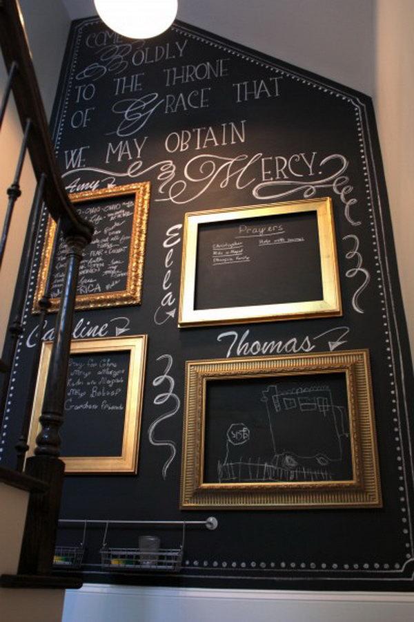 DIY Budget friendly Chalkboard Paint Wall.