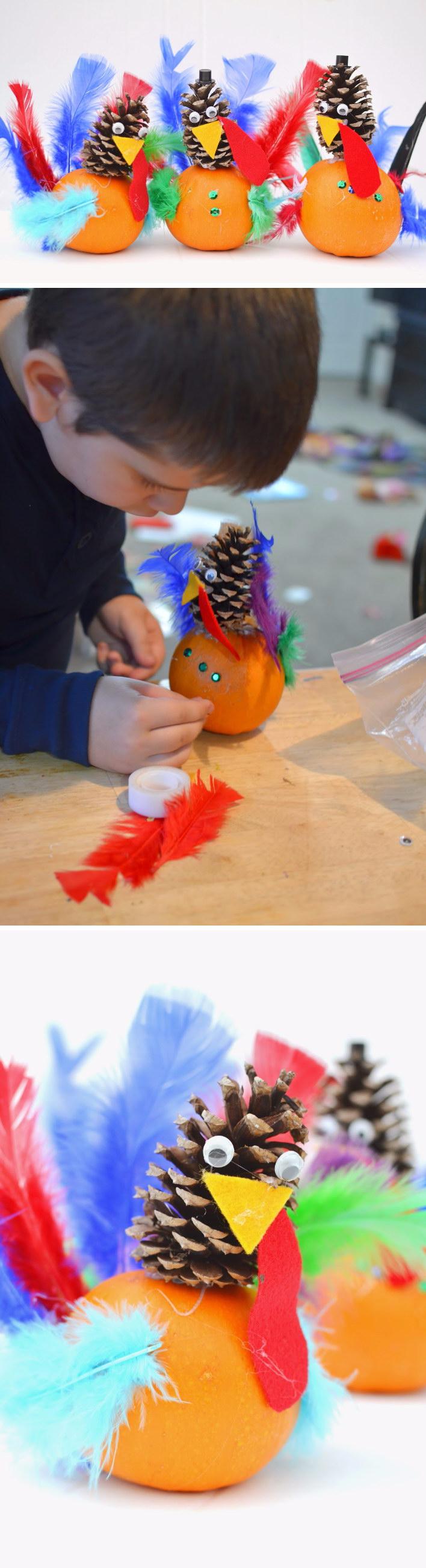 DIY Pumpkin and Pine Cone Turkey Craft.