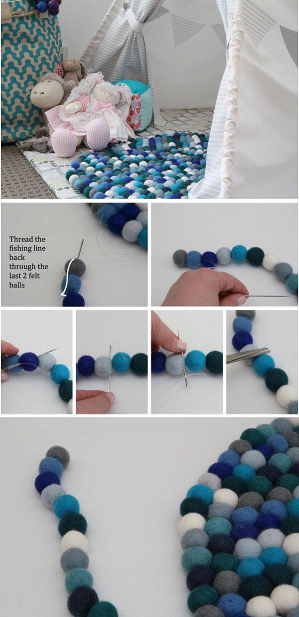 DIY Colorful Felt Ball Rug. I've always wanted a felt ball rug... Who wouldn't? Look how cute!