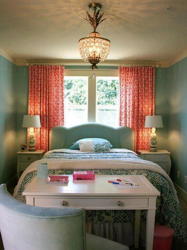 Place Bed against the Window and Desk at the end of the Bed in a Narrow Bedroom .