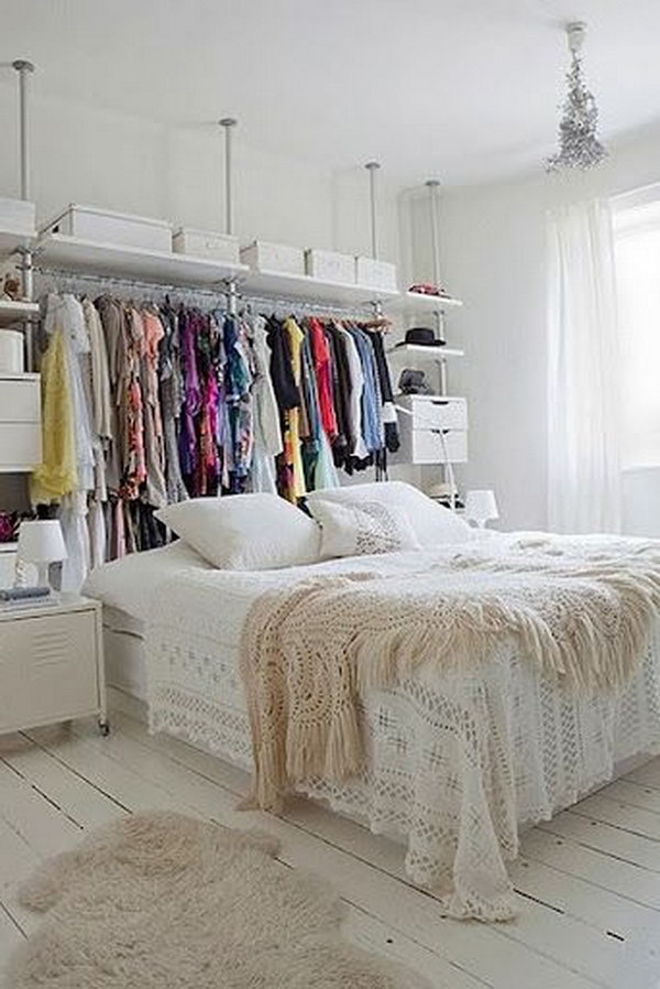 Install behind the Bed Shelf for Hanging Your clothes.