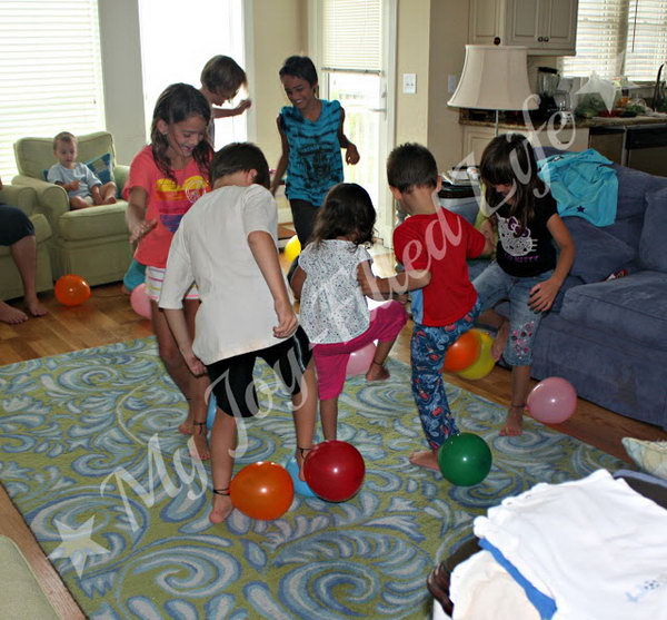 Balloon Stomp. Players run around in the designated area and try to pop the other players' balloons by stomping on them and also try to keep their own balloon from being popped. The player with the last unpopped balloon is the winner. Balloons,  some string or yarn are all you need for this activity.
