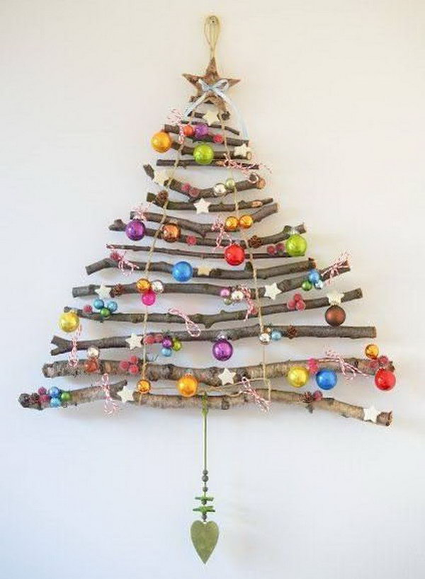 DIY Christmas Tree Made from Twigs and Decor. So fun and easy Christmas tree made from twigs and decor for a sweet home decoration.