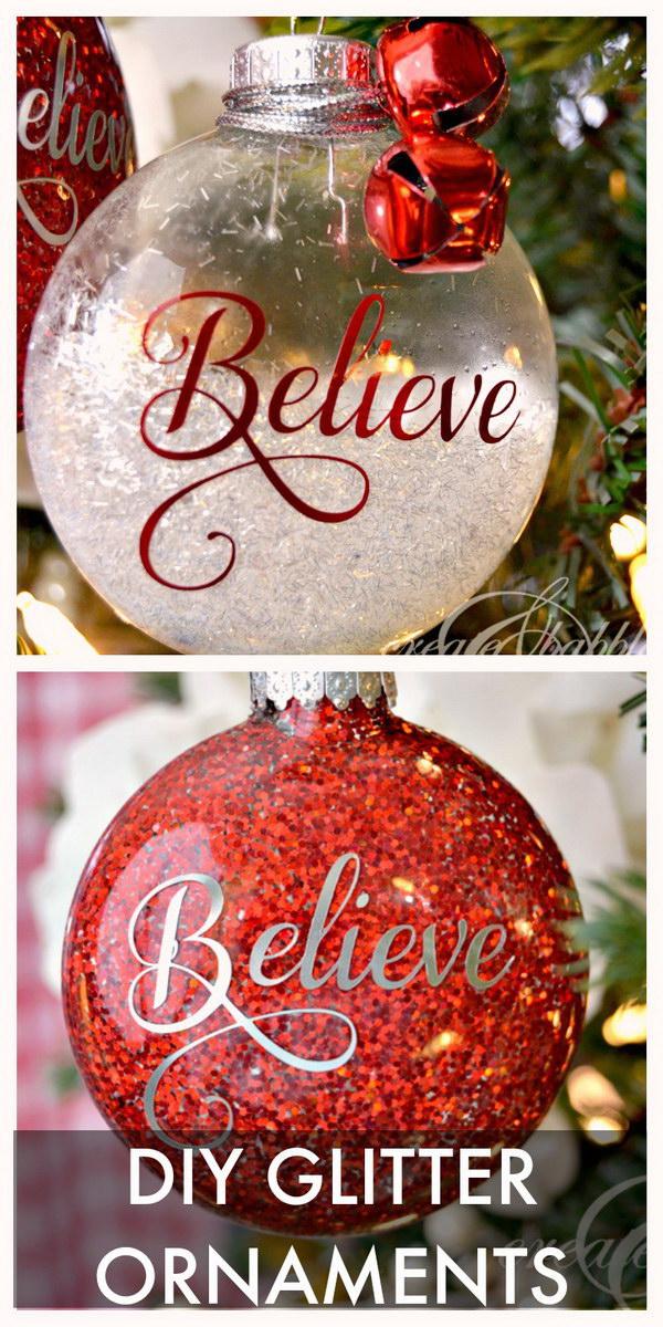 DIY Glitter Christmas Ornaments.
