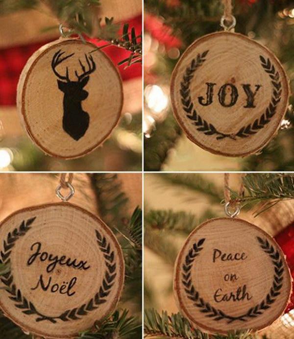 Rustic Wood Slice Ornaments.