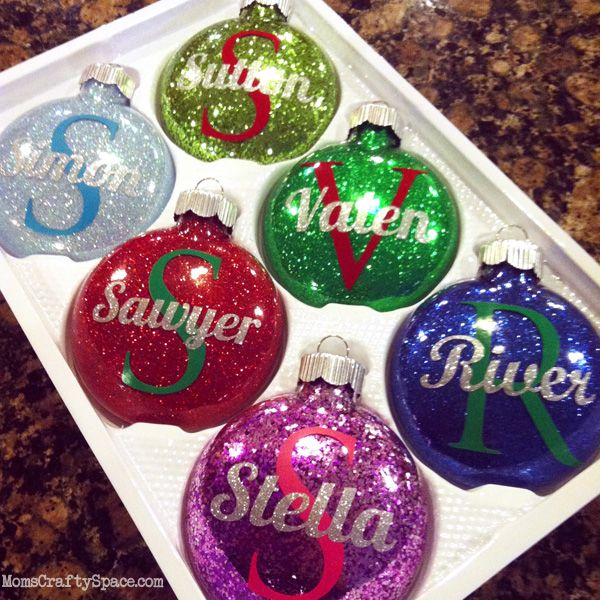 DIY Personalized Glitter Ornaments.