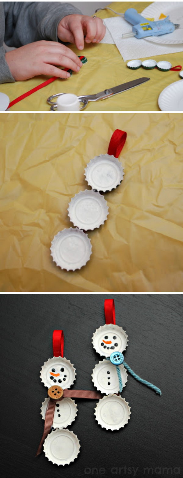 Bottle Cap Snowman Ornaments.