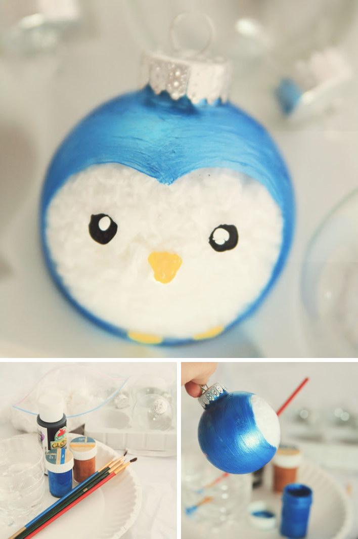 Cute Painted Penguin Ornament.