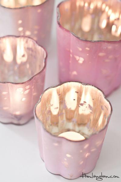 DIY Pink Mercury Glass Light Holder