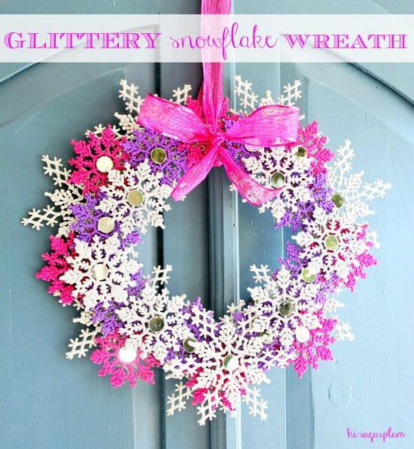 DIY Glittery Snowflake Wreath