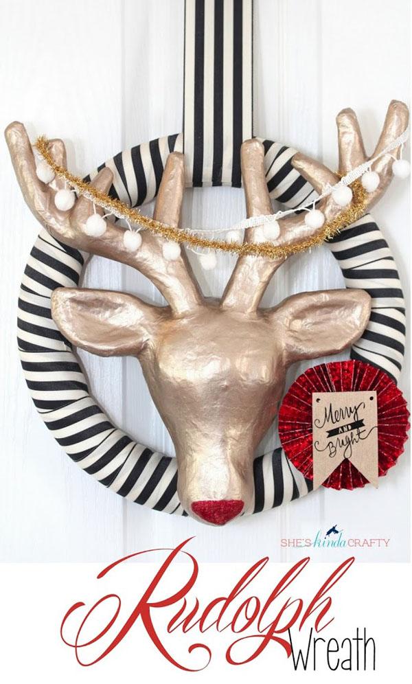 DIY Rudolph Wreath