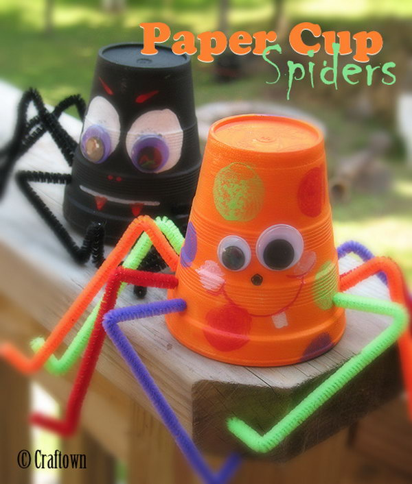 Cute Paper Cup Spiders and Bats.