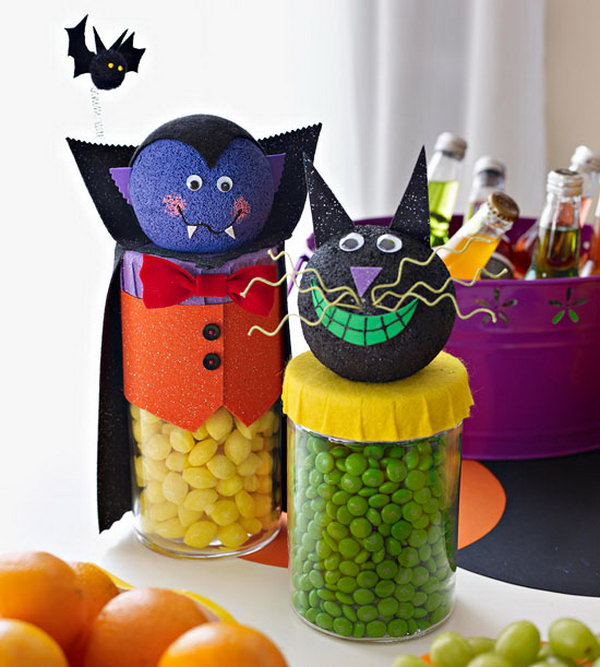 Friendly Dracula and Cat Candy Dispensers.
