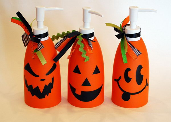 DIY Jack O Lantern Soap Dispensers .